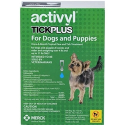 Activyl Tick Plus for Dogs and Puppies, Over 4 lbs - 11 lbs 6 Month Supply Activyl, Tick Plus, Dogs, Puppies, Over 4 lbs - 11 lbs, 6 Month Supply