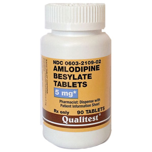 Amlodipine Besylate 5 mg, 90 Tablets : VetDepot.com