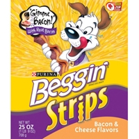 Beggin Strips Bacon & Cheese Flavor, 25 oz - 4 Pack