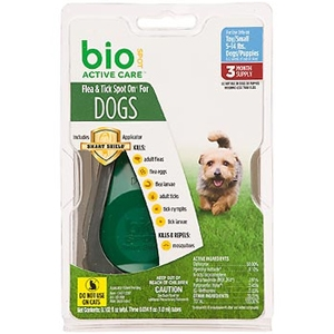 Bio Spot Active Care Flea & Tick Spot On for Dogs 5-14 lbs, 3 Pack