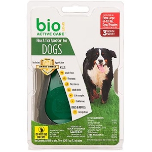 Bio Spot Active Care Flea & Tick Spot On for Dogs 61-150 lbs, 3 Pack