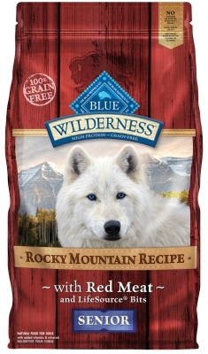 Blue Buffalo BLUE Wilderness Dry Dog Food Rocky Mountain Senior Recipe, Red Meat, 4 lbs