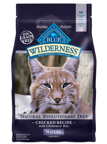 Blue Buffalo BLUE Wilderness Dry Mature Cat Food, Chicken, 2.5 lbs