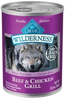 Blue Buffalo BLUE Wilderness Wet Dog Food, Beef & Chicken Grill, 12.5 oz, 12 Pack