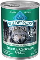 Blue Buffalo BLUE Wilderness Wet Dog Food, Duck & Chicken Grill, 12.5 oz, 12 Pack