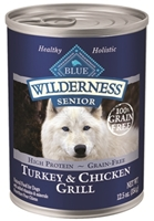 Blue Buffalo BLUE Wilderness Wet Dog Food Senior Recipe, Turkey & Chicken Grill, 12.5 oz, 12 Pack