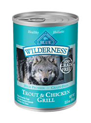 Blue Buffalo BLUE Wilderness Wet Dog Food, Trout & Chicken Grill, 12.5 oz, 12 Pack
