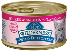 Blue Buffalo BLUE Wilderness Wild Delights Wet Cat Food, Chicken & Salmon, 3 oz, 24 Pack