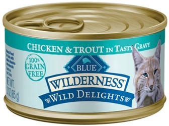 Blue Buffalo BLUE Wilderness Wild Delights Wet Cat Food, Chicken & Trout, 3 oz, 24 Pack