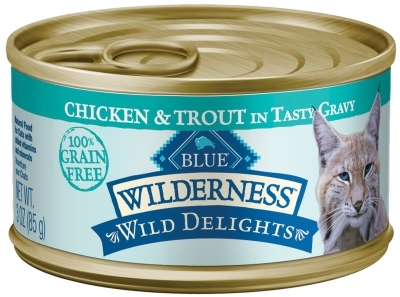 Blue Buffalo BLUE Wilderness Wild Delights Wet Cat Food, Chicken & Trout, 5.5 oz, 24 Pack