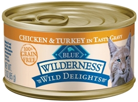 Blue Buffalo BLUE Wilderness Wild Delights Wet Cat Food, Chicken & Turkey, 3 oz, 24 Pack