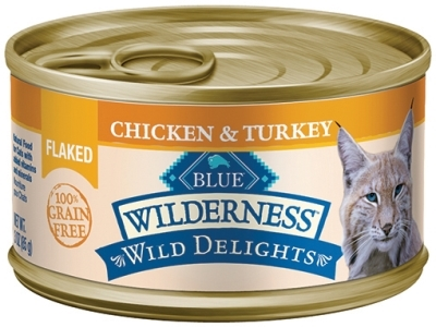 Blue Buffalo BLUE Wilderness Wild Delights Wet Cat Food, Flaked Chicken & Trout, 3 oz, 24 Pack