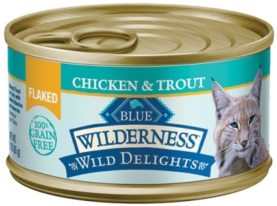 Blue Buffalo BLUE Wilderness Wild Delights Wet Cat Food, Flaked Chicken & Turkey, 3 oz, 24 Pack