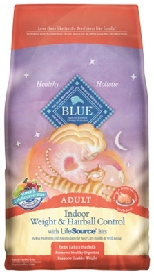 Blue Buffalo Dry Cat Food Indoor Health Adult Hairball and Weight Control Recipe, Chicken & Rice, 3 lbs