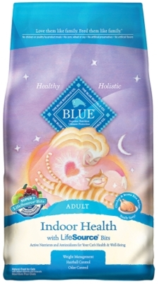 Blue Buffalo Dry Cat Food Indoor Health Adult Recipe, Chicken & Rice, 3 lbs