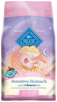 Blue Buffalo Dry Cat Food Sensitive Stomach Adult Recipe, Chicken & Rice, 7 lbs