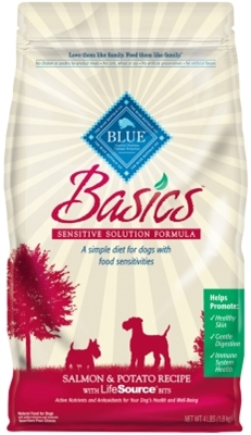 Blue Buffalo Dry Dog Food Basics Adult Recipe, Salmon & Potato, 4 lbs