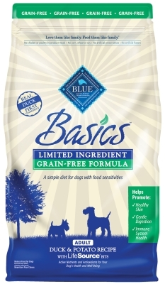 Blue Buffalo Dry Dog Food Basics Grain,Free Adult Formula, Duck & Potato, 22 lbs