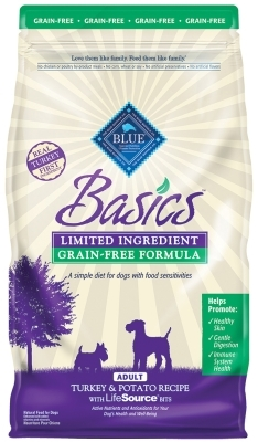 Blue Buffalo Dry Dog Food Basics Grain,Free Adult Formula, Turkey & Potato, 11 lbs