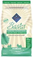 Blue Buffalo Dry Dog Food Basics Grain,Free Small Breed Adult Formula, Lamb & Potato, 4 lbs