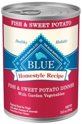 Blue Buffalo Homestyle Wet Dog Food, Fish, Vegetables & Sweet Potatoes, 12.5 oz, 12 Pack