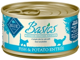 Blue Buffalo Wet Cat Food Basics, Fish & Potato, 3 oz, 24 Pack