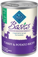 Blue Buffalo Wet Dog Food Basics Adult Recipe, Turkey & Potato, 12.5 oz, 12 pack