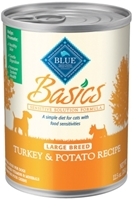 Blue Buffalo Wet Dog Food Basics Large Breed Recipe, Turkey & Potato, 12.5 oz, 12 pack