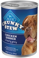 Blue Buffalo Wet Large Breed Dog Food Chunky Stew, Chicken Dinner, 12.5 oz, 12 Pack