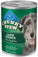 Blue Buffalo Wet Large Breed Dog Food Chunky Stew, Lamb Dinner, 12.5 oz, 12 Pack