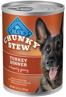 Blue Buffalo Wet Large Breed Dog Food Chunky Stew, Turkey Dinner, 12.5 oz, 12 Pack