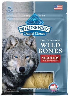 Blue Buffalo Wild Bones Natural Dental Chews, Medium, 10 oz