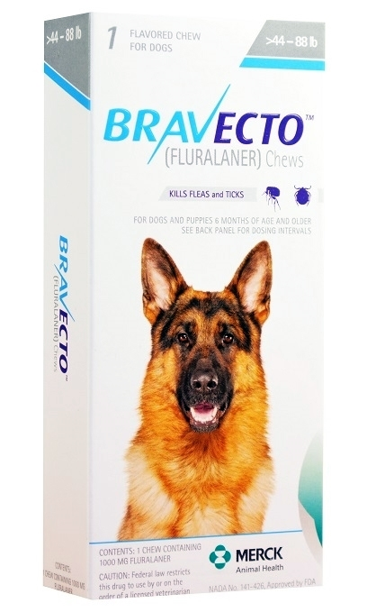 Bravecto 1000 mg for Dogs 44-88 lbs, 1 Chewable Tablet (Blue)