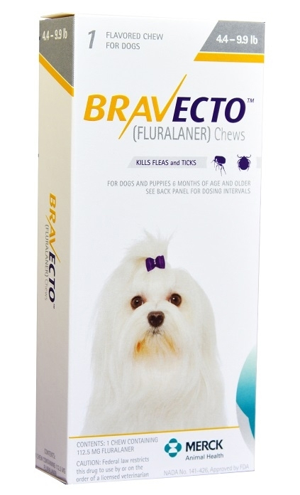 Bravecto 112.5 mg for Dogs 4-9.9 lbs, 1 Chewable Tablet (Yellow)