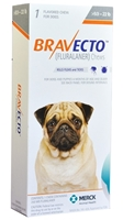 Bravecto 250 mg for Dogs 9.9-22 lbs, 1 Chewable Tablet (Orange)