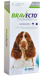 Bravecto 500 mg for Dogs 22-44 lbs, 1 Chewable Tablet (Green)