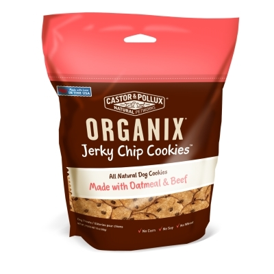 Castor & Pollux Organix Jerky Chip Cookie Dog Treats, Oatmeal & Beef, 10 oz