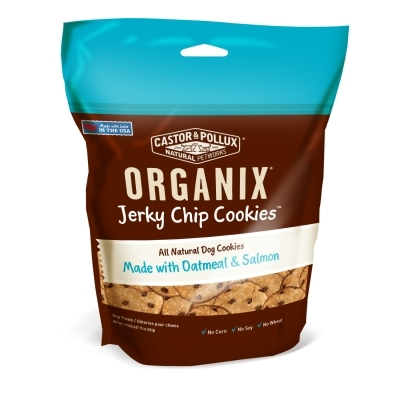 Castor & Pollux Organix Jerky Chip Cookie Dog Treats, Oatmeal & Salmon, 10 oz