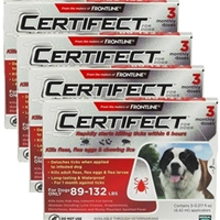Certifect for Dogs 89-132 lbs, 12 Month (Red)