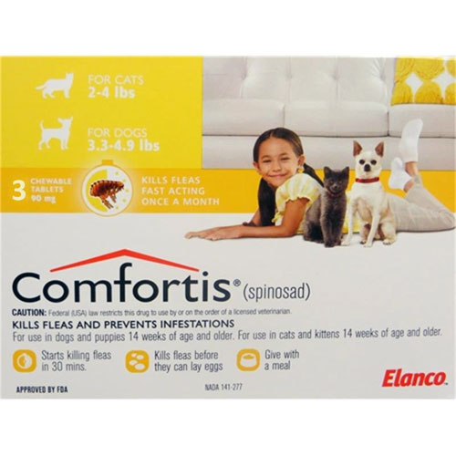 Comfortis for Cats 2-4 lbs & Dogs 3.3-4.9 lbs, 3 Pack (Yellow)  Comfortis for cats, flea control for cats, cats Comfortis, cheap Comfortis cats, discount Comfortis cats, cats flea control, 6 pack Comfortis for cats yellow