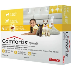 Comfortis for Cats 2-4 lbs & Dogs 3.3-4.9 lbs, 12 Pack (Yellow)