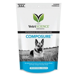 Vetri-Science Composure Canine, 30 Bite-Sized Chews composure soft chews dogs exhibiting nervousness hyperactivity anxiety responding environmentally induced stress contains combination factors found other calming formulas support balanced behavior pet meds