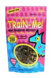 Crazy Dog Train-Me! Mini Training Reward Dog Treats, Bacon, 4 oz