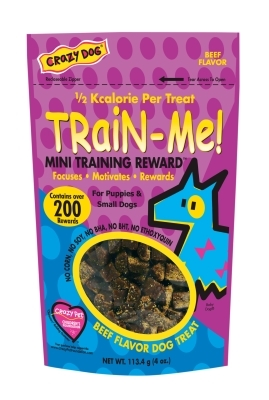 Crazy Dog Train-Me! Mini Training Reward Dog Treats, Beef, 4 oz