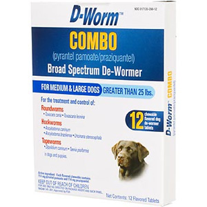 D-Worm Combo for Medium and Large Dogs Over 25 lbs, 12 Chewable Tablets