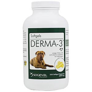 Derma-3 Softgels for Large Dogs, 250 Capsules