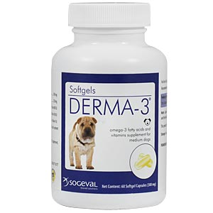 Derma-3 Softgels for Medium Dogs, 60 Capsules