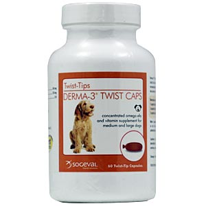 Derma-3 Twist Caps for Medium and Large Dogs, 250 Capsules