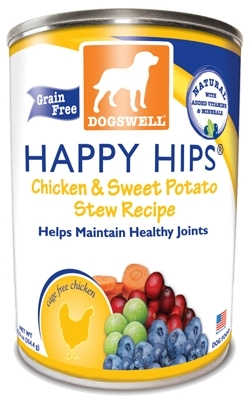 Dogswell Happy Hips Grain-Free Canned Dog Food, Chicken & Sweet Potato Stew, 12.5 oz, 12 Pack