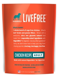 Dogswell LiveFree Grain-Free Dry Dog Food, Adult Chicken Recipe, 12 lbs